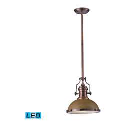 Elk Lighting - EL-66544-1-LED Chadwick LED 1-Light Pendant in Medium Oak and Antique Copper - The Chadwick Collection reflects the beauty of hand-turned craftsmanship inspired by early 20th century lighting and antiques that have surpassed the test of time. This Robust Collection features detailing appropriate for classic or transitional decors. Finishes include polished nickel, satin nickel, antique copper and oiled bronze.�Various diffuser options, including glass, metal, and wood printed metal shades, allow for adaptability to almost any design scheme. - LED offering up to 800 lumens (60 watt equivalent) with full range dimming. Includes an easily replaceable LED bulb (120V).