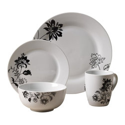 Tabletops Unlimited - 16 Piece Rebecca Dinnerware Set - Dishwasher Safe.  Microwave Safe.  Oven Safe up to 400 °F. Material: Porcelain . (4) 10.5 in. Dinner. (4) 7.5 in. Salad. (4) 5 in. Cereal. (4) 12oz MugRebecca is strong enough for everyday use, yet fashionable enough for casual dining and entertaining. Classic round bodies showcase fresh contemporary design for a touch of class that complements any table setting and presents beautifully.
