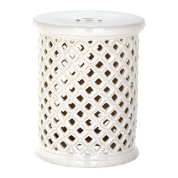 Safavieh - Palos Garden Stool - Beautiful pierced ceramic lattice work inspired by a garden trellislends character and charm to the Palos garden stool in cream. Used as a perch or side table, this pretty piece makes a statement indoors or out.
