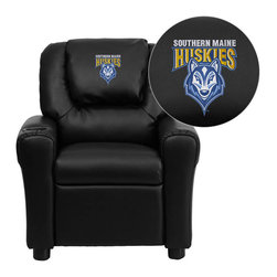 "Flash Furniture - Southern Maine Huskies Black Leather Kids Recliner with Cup Holder and Headrest - Get young kids in the college spirit with this embroidered college recliner. Kids will now be able to enjoy the comfort that adults experience with a comfortable recliner that was made just for them! This chair features a strong wood frame with soft foam and then enveloped in durable leather upholstery for your active child. This petite sized recliner is highlighted with a cup holder in the arm to rest their drink during their favorite show or while reading a book. University of Southern Maine Embroidered Kids Recliner; Embroidered Applique on Oversized Headrest; Overstuffed Padding for Comfort; Easy to Clean Upholstery with Damp Cloth; Cup Holder in armrest; Solid Hardwood Frame; Raised Black Plastic Feet; Intended use for Children Ages 3-9; 90 lb. Weight Limit; CA117 Fire Retardant Foam; Black LeatherSoft Upholstery; LeatherSoft is leather and polyurethane for added Softness and Durability; Safety Feature: Will not recline unless child is in seated position and pulls ottoman 1"" out and then reclines; Safety Feature: Will not recline unless child is in seated position and pulls ottoman 1"" out and then reclines; Overall dimensions: 24""W x 21.5"" - 36.5""D x 27""H"