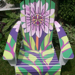 "Outdoor Painted Furniture - We used our decorative painting expertise to bring to life an Art Deco motif and give unique character to an Adirondack chair. For the second year, Painting in Partnership from Chicago's Northwest suburbs, was a sponsor for the ""Chairs of Palatine"" community event, organized by the Palatine Chamber of Commerce."