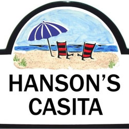 Beach Umbrella House Number Plaque - To find out more and how to order click here: http://www.classyplaques.com/beach-umbrella-house-number-plaque/