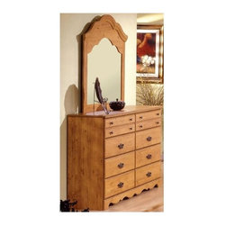 South Shore - 8 Drawer Dresser w Mirror in Country Pine Fin - Generously sized storage drawers and a warm, prairie inspired design give this dresser and mirror set a timeless style that will easily enhance your home's decor. Perfect for distinctive design styles, the set is made of wood in country pine finish and features two different drawer pull styles for added visual interest. Manufactured from eco-friendly, EPP-compliant laminated particle boardcarrying the Forest Stewardship Council (FSC) certification. 8 Drawers. Ample storage space. Assembly Required. Dresser: 16 in. W x 61 in. D x 37 in. H. Mirror: 42 in. W x 41 in. H