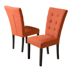 Great Deal Furniture - Leighton Fabric Dining Chairs (Set of 2), Burnt Orange (Assembly Required) - The Leighton Dining Chairs are a perfect set to bring together any space in your home. They compliment almost any decor and even double as extra seating. These chairs will satisfy for years to come by offering comfort, style, and durability.