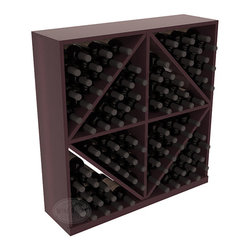Solid Diamond Wine Storage Bin in Redwood with Burgundy Stain + Satin Finish - This solid wooden wine cube is a perfect alternative to column-style racking kits. Holding 8 cases of wine bottles, you can double your storage capacity with back-to-back units without requiring more access area. This rack is built to last. That is guaranteed.