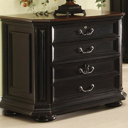 Riverside Furniture - Allegro Lateral File Cabinet - Two large file drawers. File drawers with lock for securing vital documents. Dovetail drawer construction. Mounted on ball-bearing extension guides. Drawers separated by dust panel. Can be accommodate either letter or legal sized hanging file folders. Tilt restraining mechanism installed. Base levelers. Bun feet. Medium and light distress level. CPSC HR-4040 certified. Made from poplar hardwood solid, cherry and birch veneers. Burnished cherry and rubbed black finish. 34.75 in. W x 21.75 in. D x 30.5 in. H (121 lbs.). Assembly Instructions
