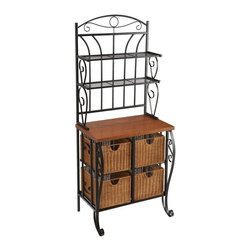 "Holly & Martin - Holly & Martin Lillian Iron & Rattan Baker's - This attractive black metal frame wicker drawer bakers rack features a quartet of capacious wicker drawers beneath a wide display shelf and several narrower upper shelves.  This well-made 65�_"" baker�۪s rack looks great in the kitchen, bathroom, or just about anywhere!  This bakers rack features four wicker drawers that give the cook extra storage space and easy access to those essential items.  With a versatile design, the rack can easily be used in a bathroom to provide space for storage towels and other necessities.  This warm wicker and metal baker's rack can work well in nearly any room of your home. * 4 brown wicker baskets. Painted black finish. Oak laminate counter. Also a perfect unit for the bathroom. Durable metal construction. Assembly required. Package Includes: Baker's Rack, Wicker Drawers, Allen Wrench. Max weight capacity: 40 lb. (counter top), 15 lb. (each shelf). 2 fixed shelves: 26.75 in. W x 8.5 in. D x 8.5 in. H (clearance)Wicker drawers: 11 in. W x 14 in. D x 8.75 in. H. Wood counter: 25.5 in. W x 17 in. D x 13 in. H (30 in. H from ground)Overall: 28 in. W x 19.5 in. D x 65.25 in. H (53 lbs.)"