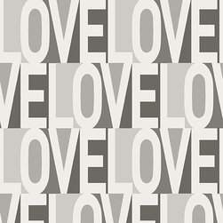 LOVE Removable Wallpaper_Greyscale_BA403 - Vinyl-coated removable wallpaper.  It uses a water-based adhesive and ink.  It is lead-free, phthalate-free, and VOC-free.  Part of the Tempaper by Bobby Berk Home Collection.
