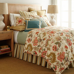 "Legacy Home - Legacy Home Queen Floral Duvet Cover, 90"" x 96"" - In an easygoing palette perked up with touches of blue and coral, ""Malawi"" bed linens mix traditional patterns in a most modern way. Made in the USA by Legacy Home. Dry clean. Jacobean floral duvet covers and shams are linen/rayon. Mitered-hem, light...."