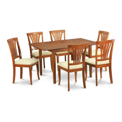 """East West Furniture - 7Pc Set Picasso Dining Table and 6 Avon Padded Seat Chairs - 7Pc Set Picasso Table with 12 in Butterfly Leaf and 6 Avon Padded Seat Chairs; These Picasso kitchen sets are beautifully crafted and rich with a warm saddle brown color.; This sleek, yet traditional dinette set contains no plastic, which makes it efficient and environmentally friendly.; The Picasso table & chairs each have a glossy finish, complete with subtle, perfectly beveled edges.; These dinette sets make a cozy addition to any kitchen or conventional dining room and provide seating for up to six people.; Choose between wood and microfiber upholstered seats depending on which table & chairs set fits your ktichen or dining room style.; Weight: 176 lbs; Dimensions: Table: 48 - 60""""L x 32""""W x 30""""H; Chair: 18""""L x 17""""W x 38.5""""H"""