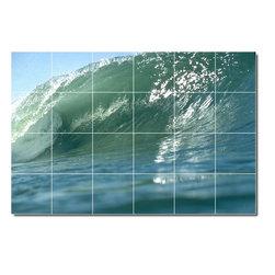 Picture-Tiles, LLC - Waves Photo Backsplash Tile Mural 6 - * MURAL SIZE: 48x72 inch tile mural using (24) 12x12 ceramic tiles-satin finish.