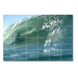 Picture-Tiles, LLC - Waves Photo Backsplash Tile Mural 6 - * MURAL SIZE: 48x72 inch tile mural using (24) 12x12 ceramic tiles-satin finish.