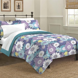 None - Sunflower 3-piece Comforter Set - The Sunflower mini comforter set provides your bed with an elegant floral pattern in a multicolored finish. This machine washable set is available in twin,full,queen and king dimensions.