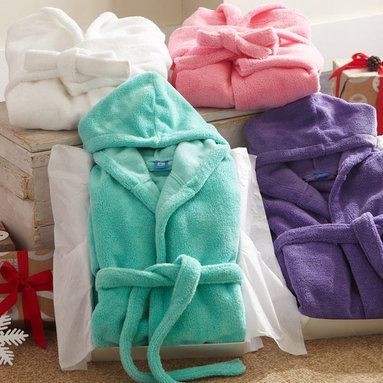 Classic Short Robe with Hood - Winter mornings are warm and cozy when you're wrapped in our classic robe. It has a roomy hood and convenient front pockets.