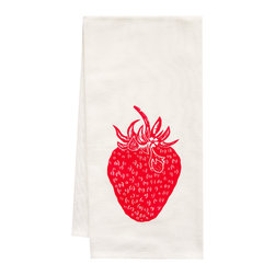 "artgoodies - Organic Strawberry Tea Towel - This high quality 100% certified organic cotton tea towel was custom made just for artgoodies! Hand printed with one of my original linocut block print images it measures 20""x28"" and comes wrapped in a green ribbon made from 100% recycled plastic bottles! Nice and absorbent for drying dishes, looks great when company is over, and makes a great housewarming gift!"