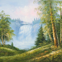 overstockArt.com - Beaver Falls - Beaver Falls is an epic interpretation of a majestic forest. Imagine having a picnic in this flowery meadow, with a beautiful waterfall as the backdrop. Enjoy that memorable feeling everyday with this hand painted creation of nature at it's best.