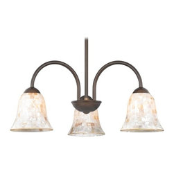 Design Classics Lighting - Chandelier with Mosaic Glass in Bronze Finish - 592-220 GL9222-M - Mosaic glass neuvelle bronze 3-light chandelier with bell glass shades. Takes (3) 100-watt incandescent A19 bulb(s). Bulb(s) sold separately. UL listed. Dry location rated.