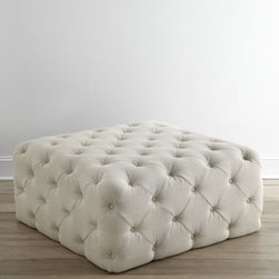 """Haute House - Haute House """"Puffet"""" Ottoman - Exclusively ours. Square ottoman wrapped in linen with allover button tufting is a surprisingly eye-catching statement piece for its simple design. Select color when ordering. Handcrafted of alder wood. 42""""Sq. x 18""""T. Made in the USA. Boxed wei..."""