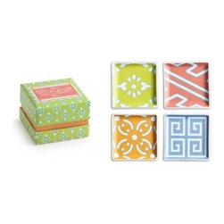 """Rosanna - Calypso Square Trinket Trays - 4"""", Set of 4 By Rosanna - Our porcelain Tidbit and Trinket Trays from the Calypso Collection by Rosanna dazzle in assorted pink, green, orange and light blue hues, featuring a variety of white geometric patterns. Just perfect for holding keys and accessories or serving something delicious at your next soiree. The set of four square trays are packaged in a Rosanna signature gift box. Microwave and dishwasher safe."""