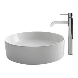 Kraus - Kraus C-KCV-140-1007CH White Round Ceramic Sink and Ramus Faucet - Add a touch of elegance to your bathroom with a ceramic sink combo from Kraus