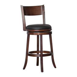 Boraam - Boraam Palmetto 29 in. Swivel Bar Stool - 43129 - Shop for Stools from Hayneedle.com! Ideal for a bar or dining area the Boraam 29-Inch Palmetto Swivel Bar Stool attracts attention. This ultra-stylish and comfortable bar stool is the perfect height for tall countertops. Built of solid hardwood the Palmetto Swivel Bar Stool features a fully-swiveling seat covered in lush black vinyl for a contemporary look. Fine construction and craftsmanship ensures that this stool will withstand daily use and remain a favorite part of your seating arrangements. Some assembly is required. Please note: This item is not intended for commercial use. Warranty applies to residential use only. About Boraam IndustriesWith the mission to provide well-styled quality home furnishings and furniture at popular price points to multiple tiers of markets Boraam Industries was established in 2001 in Mundelein Ill. Boraam Industries has its own tropical hardwood production facility based in Malaysia providing an exotic selection to suit all types of decor needs.