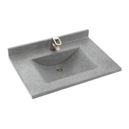 "Swanstone - Metropolitan 25"" Contour Vanity Top - Enhance your bathroom with the bold designs of the Contour Single Bowl Vanity Top from Swanstone's Metropolitan Collection. The vanity top will undoubtedly bring convenience and style to your bathroom, while accomodating most faucet styles. With so many color options, you will surely find one to suit your bathroom! The Metropolitan Collection features products with elegance and innovative design. The quality and style of this vanity top will not dissapoint. Features: -Metropolitan Collection. -Contemporary style with unique sweeping bowl. -Renewable surface will not wear away. -Coordinates with Swanstone bath and shower systems. -Easily accomodates all faucet styles. -Bowl size: 20 1/8"" W x 13"" D x 6 1/4"" H. -Vanity top dimensions: 22""D x 25""W."
