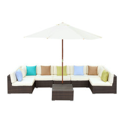 "LexMod - Monterey Outdoor Patio Sectional Sofa Set in Tan White - Monterey Outdoor Patio Sectional Sofa Set in Tan White - Your corner of the world just got bigger. The Surroundings Sectional Sofa Set, takes the great outdoors, and carves out a fashionable nook to call your own. With soft all-weather fabric cushions and a synthetic rattan base, Surroundings takes the most comfortable components of your indoor furniture, and transitions them outside under the sky and open air. The set also comes equipped with a full-size wooden sun shade umbrella. Set Includes: Five - Monterey Outdoor Wicker Rattan Armless Sofas One - Monterey Outdoor Wicker Rattan Coffee Table One - Monterey Outdoor Wicker Rattan Umbrella Two - Monterey Outdoor Wicker Rattan Corner Sofas Synthetic Rattan Weave, Powder Coated Aluminum Frame, Water & UV Resistant Machine Washable Cushion Covers, Wooden umbrella sun shade, Easy To Clean Tempered Glass Top Overall Product Dimensions: 147""L x 117""W x 26""H Corner Section Dimensions: 33""L x 33""W x 25""H Armless Sofa Dimensions: 33""L x 27""W x 25.5""H Tea Table Dimensions: 27.5""L x 27.5""W x 13.5""H Umbrella Stand Dimensions: 17.5""L x 17.5""W x 11.5""H Umbrella Diameter: 117""L x 117""W Seat Dimensions: 15.5""H Cushion Thickness: 4""H - Mid Century Modern Furniture."