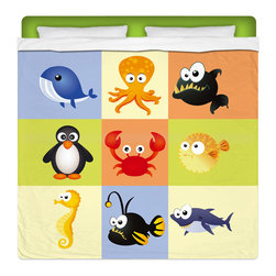 """Eco Friendly King Size """"Beach Animals"""" Kids Sheet Set - Our """"Beach Animals"""" Kids King Size Sheet Set from our Seaside Bed and Bath Collection is made of a lightweight microfiber for the ultimate experience in softness~ extremely breathable!"""