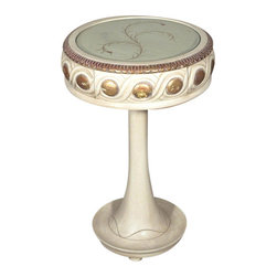 Antiqued White Finish French Glasstop Occasional Side End Table w/ Drawer - French Style Reproduction