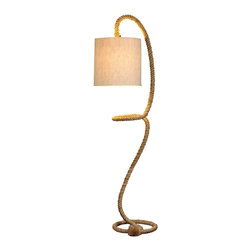 Natural Design House - Nautical Rope Floor Lamp - Floor Rope lamp, curve stem fully weaved with natural rope come with a natural drum shape jute shade.