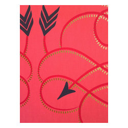 Grow House Grow - Tackapousha Wallpaper, Sideshow, Sample - Aim for high style! This bold yet graceful wallpaper, which is hand-printed and made in the USA, translates archery into art and hits the bull's-eye beautifully.