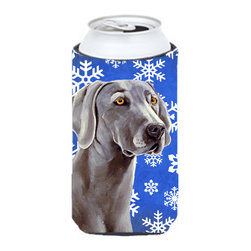 Caroline's Treasures - Weimaraner Winter Snowflakes Holiday Tall Boy Koozie Hugger - Weimaraner Winter Snowflakes Holiday Tall Boy Koozie Hugger Fits 22 oz. to 24 oz. cans or pint bottles. Great collapsible koozie for Energy Drinks or large Iced Tea beverages. Great to keep track of your beverage and add a bit of flair to a gathering. Match with one of the insulated coolers or coasters for a nice gift pack. Wash the hugger in your dishwasher or clothes washer. Design will not come off.