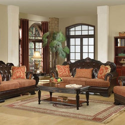Acme Classic Brown Fabric Leather Sofa Loveseat Chair Pillow Living - The Le Havre traditional collection is decorative carving, complemented with tufted seat back. Perfectly suited for any living room environment.