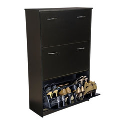 Venture Horizon - Triple-Stack Shoe Cabinet w Tilting Doors in Black Finish - Fits approximately 36 pairs of shoes inside. Tilting doors save space. Large storage capacity. Stackable. Protects shoes. Constructed from durable, stain resistant and laminated wood composites that includes MDF. Made in the USA. Assembly required. Weight: 83 lbs.. Assembled size: 30 in. W x 11.5 in. D x 48 in. HStackable Shoe Cabinets...Organizes and protects your investment. Just think about how much money we spend on just one pair of shoes. It adds up. Before you know it there are thousands of dollars worth of shoes cluttering up the floor of the closet. Our cabinets will accommodate the largest shoe collections. Getting them off the floor. Neatly organized in their own space. Keeping them clean and protected. Also eases the selection process each and every morning.