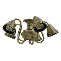 Joshua Marshal - Five Light Antique Brass Fan Light Kit - Five Light Antique Brass Fan Light Kit
