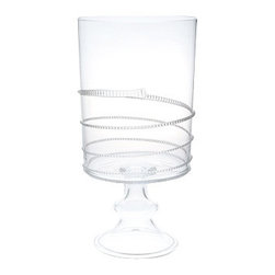 "Juliska - Juliska Amalia Large Hurricane Clear - Juliska Amalia Lg. Hurricane Clear. This stunning and lofty hurricane is accented with a stylish and irreverent spiral and is crafted to house a pillar candle for a welcoming glow or a robust bouquet. Dimensions: 15.5"" H x 8"" W Capacity: 7.5 Qt"