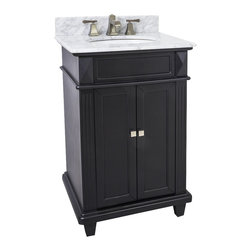 "Hardware Resources - 24"" Wide MDF Vanity  VAN057-T-MW - This 24"" wide MDF vanity features a sleek black finish, clean lines and tapered feet to give a modern feel. A perfect alternative to a pedestal sinks. A large cabinet provides storage.  This vanity has a 2CM white marble top preassembled with an H8809WH (15"" x 12"") bowl, cut for 8"" faucet spread, and corresponding 2CM x 4"" tall backsplash.  Overall Measurements: 24"" x 22"" x 36"" (measurements taken from the widest point) Finish: Painted Black Material: MDF Style: Transitional Coordinating Mirror(s): MIR057, MIR036, MIR058 Bowl: H8809WH"