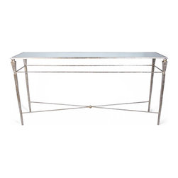 """Bliss Studio - Bliss Studio Pickford Console Table - From cutting-edge contemporary to classic rococo, Bliss Studio furnishes your home with progressive, chic and timeless designs. Combining a modern aesthetic with effortlessly elegant style, the Pickford console table dazzles in a living room. Showcasing a beautiful champagne finish, this rectangular iron furnishing allures with a hammered texture and an antiqued mirror top. An x-stretcher and sleek legs offer a sophisticated touch. Wipe clean with a dry cloth. 66.5""""W x 16.25""""D x 37""""H."""