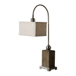 Silver Nest - Light Box Table Lamp - Aged wood with a light gray wash, brushed nickel plated details and a pivoting shade. The rectangle box shade is an oatmeal linen fabric with dark gray slubbing.