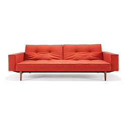 "Innovation USA - ""Innovation"" Splitback Mixed Dance Burned Orange Sofa Bed... - Big and pleasing, like an oversized teddy bear, the ""Innovation USA"" Splitback Mixed Dance Burned Orange Sofa Bed With Arms  Dark Wood Legs will become the favorite seat in your home. Sofa includes mixeddance burned orange upholstery and dark wood legs. You can find this sofa in various types of fabric and legs. See more colors in the Splitback Collection below."