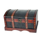 Leather Wooden Chest - Decorative trunk that is great for storage and decoration Great Tressure Box Wood leather trunk Our warm and welcoming steamer trunk brings back days of old time. Remember how excited you are when you were a little kid to look into your grandma's old chest, our decorative trunks will bring back those memories and help you create some new ones too. Our hope chest boxes are all handcrafted and tailored to enhance the existing decor of any room in the home. Great to use for your very own treasure chest!