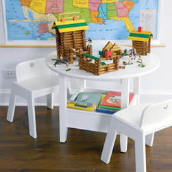 White Bin Table - Here's a small table to fit by the adult's and it also has storage under it — bonus!