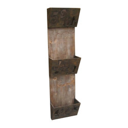 Screen Gems - Screen Gems Wood Plaque Rack, Set of 2 - Distressed wooden and iron magazine folder. It can be used as indoor or covered outdoor decor.