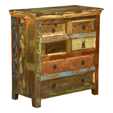 Sierra Living Concepts - Whitney Reclaimed Wood 6 Drawer Bedroom Dresser Chest - Painted old wood provides color to rustic furniture without losing the look and feel of this homespun style. Our Whitney 6 Drawer Bedroom Dresser offers lots of organizational storage options with four narrow drawers and two long bottom drawers.