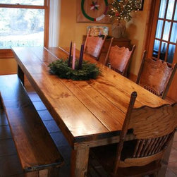"""8' Traditional Farmhouse Dining Table - 8' x 37"""" x 30"""" Farmhouse table in Early American stain."""