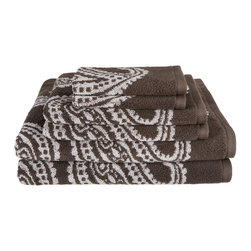 Egyptian Cotton 550 GSM Paisley 2 Piece Bath Towel Set - Charcoal - These 550 GSM Towels feature an exotic paisley pattern. The towels are thick and absorbent while being durable and long lasting. This set includes Two Bath Towels 30x52 each.