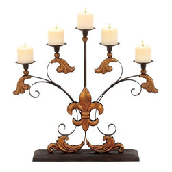 Benzara - Metal Candelabra Detailed with Ornate Scroll Accents - Styled to perfection, this elegantly designed Metal Candelabrum will instantly spruce room settings with its attractive design. Fully equipped with five fluted metal stands, it allows you to place candles or tea lights, and lend a warm, enchanting glow to room settings. Elaborately detailed with ornate scroll accents, this metal candelabrum offers a stunning combination of ornate European designs and will make a wonderful decor accent. Decorated with a bold, gold finished Fleur-de-lis accent and ornate baroque motifs, this candelabrum is high on style and is perfect for ushering vintage grandiose to interiors. You can gift this elegant candelabrum to your beloved or near and dear ones on special occasions like birthday or housewarming party. Crafted from premium grade metal, the robustly designed candelabrum is resistant to easy wear and ensures long-lasting performance.