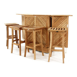 Westminster Teak Furniture - Somerset Teak Bar and Stool Set - Finely Crafted Teak Wood Bar.  Built in Wheels for Easy Relocation. Includes 4 Backless Teak Bar Stools. Quality Rated 'Best Overall' by the Wall Street Journal.  Lifetime Warranty & Risk Free Guarantee.