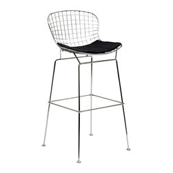 LexMod - CAD Bar Stool in Black - The minimal nature of this CAD Wire Side Chair is an asset for any lover of modern furniture. A simple yet stylish design evoking the height of modern classic design. As comfortable as it is attractive, this is the sort of accent chair that starts conversations.