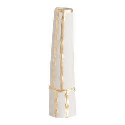 Arteriors - Venus Tall Vase - You'll hardly be gilding the lily by adding this simply elegant accent to your decor. The cylindrical vase with a white matte finish is modestly seamed with metallic gold.